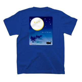 シマエナガツキ と影猫(バックプリント) T-shirts