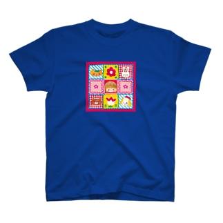 レトロパッチワーク柄 T-shirts