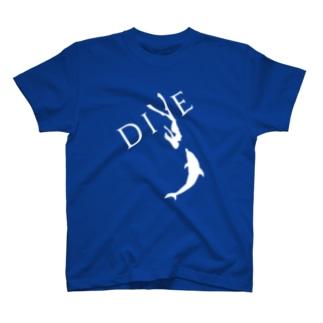 【DIVE】ドルフィンスイム 白 -イルカとスキンダイビング- T-shirts