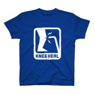 白「KNEE HEAL」濃色Tシャツ T-shirts