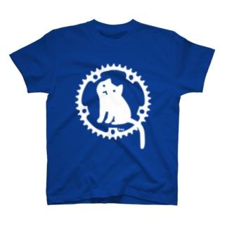 チェーンリングねこ・ホワイト T-shirts