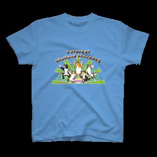 Airy BlueのColors of Shetland sheepdog 日本語ロゴVer. T-shirts
