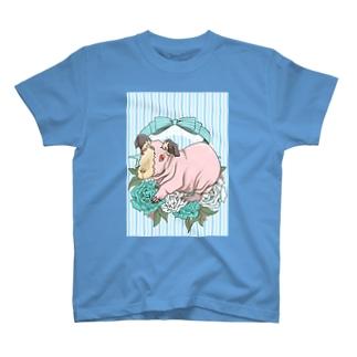 レジメンタルストライプ×モルモット 水色 T-shirts