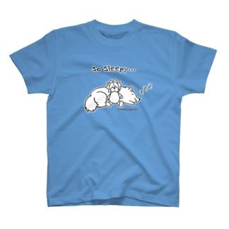アトリエ・シシのSo Sleepy +piping 眠たいワンコ T-shirts