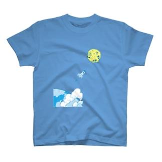 宇宙 ロケット 月 トップス T-shirts