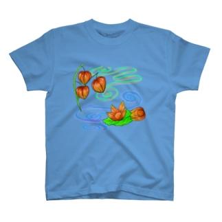 Lily bird(о´∀`о)の枝つきホオズキ 水紋(和柄)その2 T-shirts