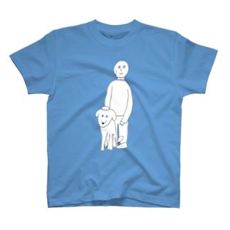 犬と犬の従者(白) T-shirts