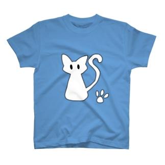 安定感企画 イラスト編No.3 黒枠白猫 T-shirts