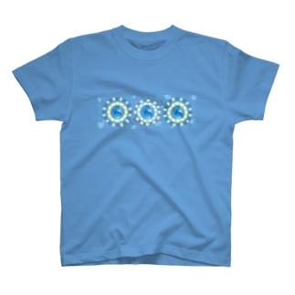 【プリズモリイ魔法雑貨店シリーズ】幸宝石と招魔法のアンティーク風グッズ/アクアマリン(藍玉) T-shirts