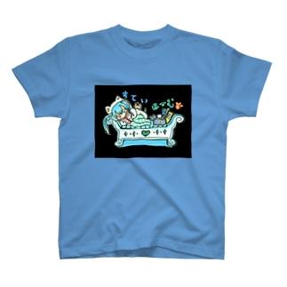 両面プリント✨mikuと愛猫💙STAY HOMEとおうち時間 T-Shirt