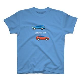 人気のSUV風なイラスト(白ヌキ文字) T-shirts