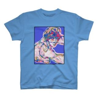 シーレのヌードデッサン青 T-shirts