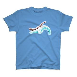 湯野浜「波乗り発祥の浜」像-横- T-shirts
