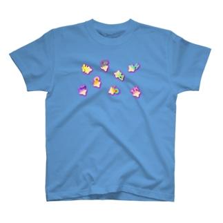ゆるあしゆびふれんず影ピンク T-shirts