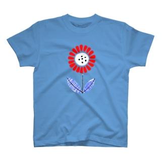 レトロポップデザイン「RED FLOWER」 T-shirts