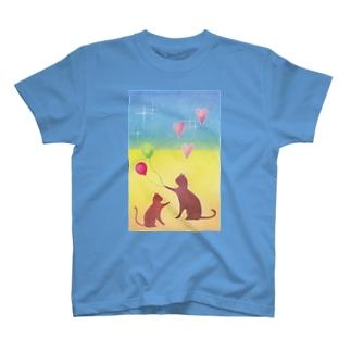南国の夕日と猫の親子 T-shirts