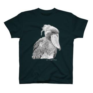 ハシビロコウ モノクロ 濃色T フロントプリント T-shirts