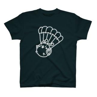 ウサコロまる・パラシュートで降下(線画:白バージョン) T-Shirt