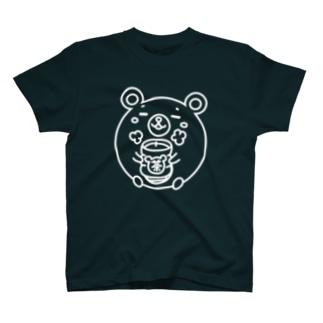クマコロまる・ホッとする瞬間(線画:白バージョン) T-shirts