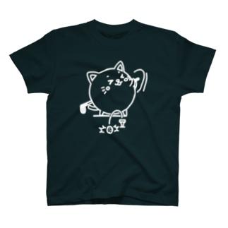 ニャンコロまる・ゴルフ(線画:白バージョン) T-shirts