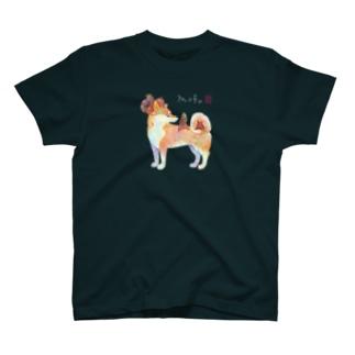 柴犬さんで遊ぶりすさん T-shirts