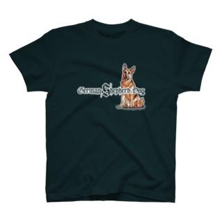 ジャーマンシェパード前後イラスト プリント T-Shirt