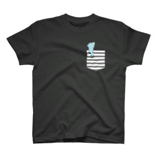 【濃い色Tシャツ】ポケットチワワ♡ Tシャツ