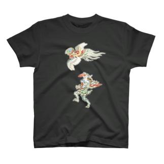 百鬼夜行絵巻 鳥兜の付喪神と青鬼【絵巻物・妖怪・かわいい】 Tシャツ
