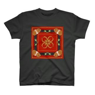 MOLMES スカーフ柄・赤・茶もる T-shirts