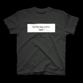 April.のSpring has come. BOXLOGO(ブラック×ホワイト) T-shirts