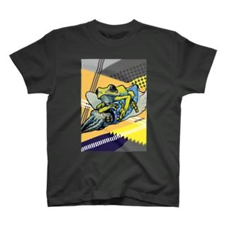 烏賊乗りPOPデザイン背景 T-shirts