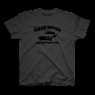 BigmamacafeのBigmamacafe YOKOHAMA BURGER B ブラック T-shirts