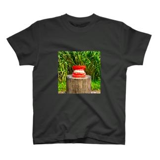 歯ぎしりTシャツ Black T-shirts