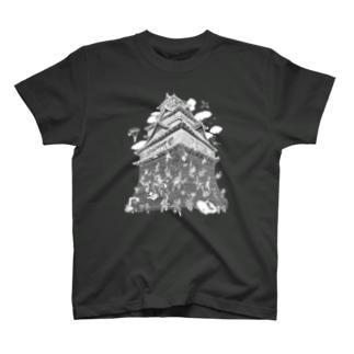 熊本城武者返し イラストカラー:ホワイト T-shirts