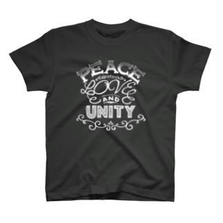 PEACE, LOVE & UNITY【濃色ベース】 T-shirts