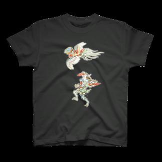 和もの雑貨 玉兎の百鬼夜行絵巻 鳥兜の付喪神と青鬼【絵巻物・妖怪・かわいい】 T-shirts