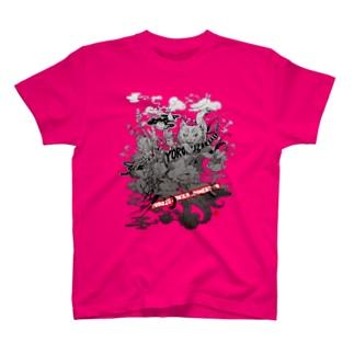 えびばけねこモノクロ T-shirts