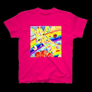 shu-shuの水彩イラスト キリン T-shirts