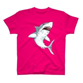 凶暴につき注意!手描きサメ-水彩風 T-shirts