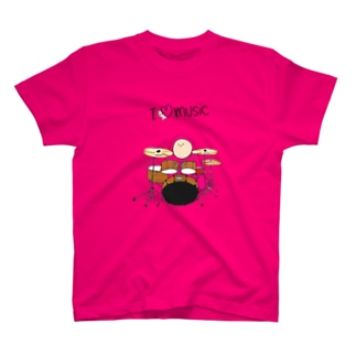 I LOVE MUSIC - アイラヴミュージック ドラムVer. T-shirts