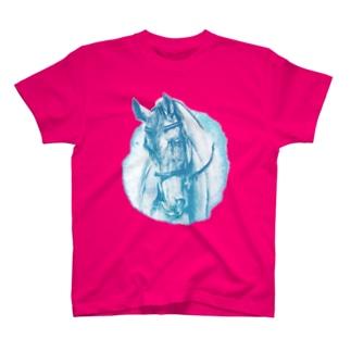 サラブレッドのお顔Tシャツ(ブルー) T-shirts