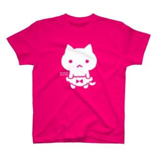 ぱんつが大きくて常に支えているねこ(しろ) T-shirts