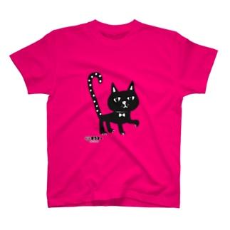 水玉しっぽの黒猫ちゃん T-shirts