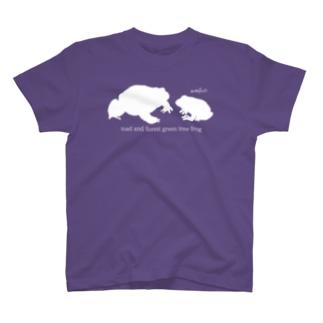 Tシャツ 二匹のカエル シルエット T-shirts
