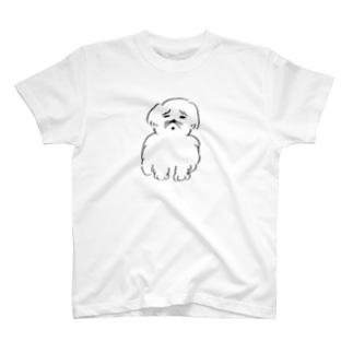 嫌そうな顔をした犬 Tシャツ