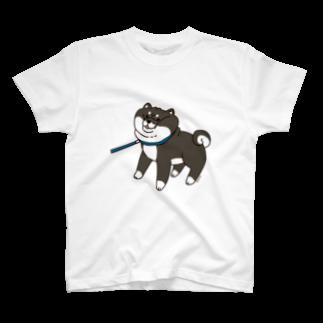 もんとみさん( •ө• )の散歩から帰りたくない黒柴Tシャツ(ホワイト) TシャツTシャツ