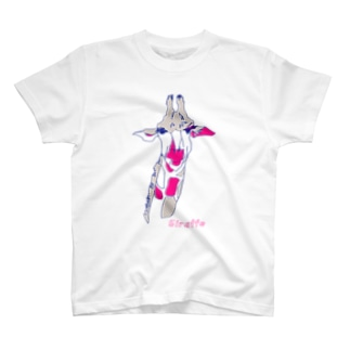 きりん▽灰色×ピンク Tシャツ