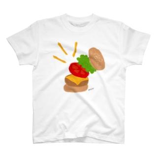 楽しくなっちゃうハンバーガー Tシャツ