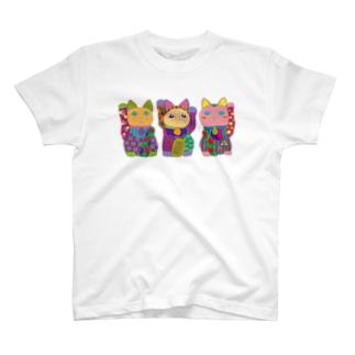 招き猫 Tシャツ