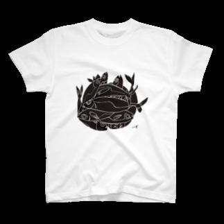megumiillustrationのAJI Black Tシャツ